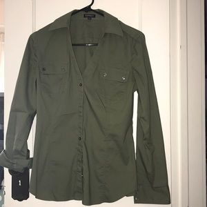 Army green button up blouse